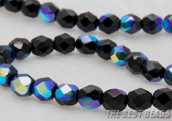 Black with AB Faceted Rounds 6mm