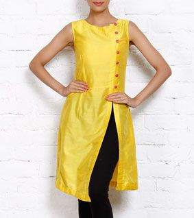 Yellow Cotton Silk Dress