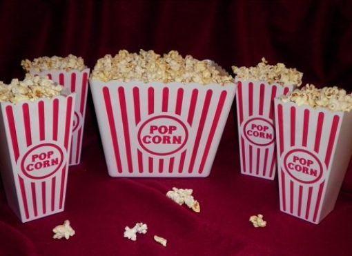 NEW Plastic Popcorn Tubs for Movie Night! - 1 Jumbo Tub and 4 Individual Tubs