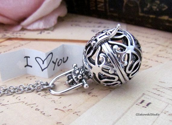 Wish Box Necklace, Antique Silver Orb, Prayer Box, Angel Caller, Harmony Ball, Message Locket Necklace The cage style pendant features an ornate