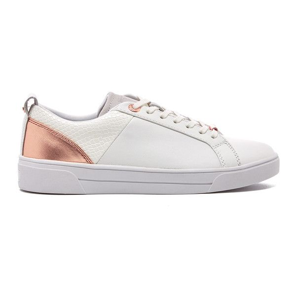 Ted Baker Women's Kulei Leather Cupsole Trainers (2.655.775 VND) ❤ liked on Polyvore featuring shoes, sneakers, leather sneakers, lace up sneakers, leather shoes, white low tops and white lace up sneakers