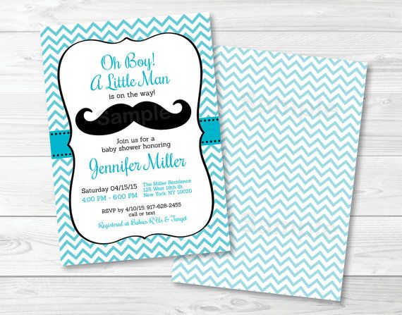 Little Man Mustache Baby Shower Invitation / Oh Boy / Chevron / Turquoise U0026  Black /