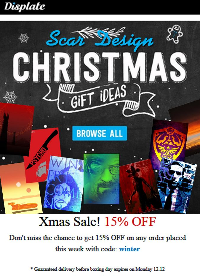 Movie Posters and others Xmas Sale by Scar Design. #xmassale #Xmas #christmasgifts #posters #movieposters #photography #popculture #tvseries #buymovieposters #minimalmovieposters #scardesign #displate #discount #sales #homedecor #mancave #geek #nerd #gamingposters #gamersroom #gamer #giftsforhim #giftsforher #christmasdiscount #xmasdiscount #smassalegifts #christmassales