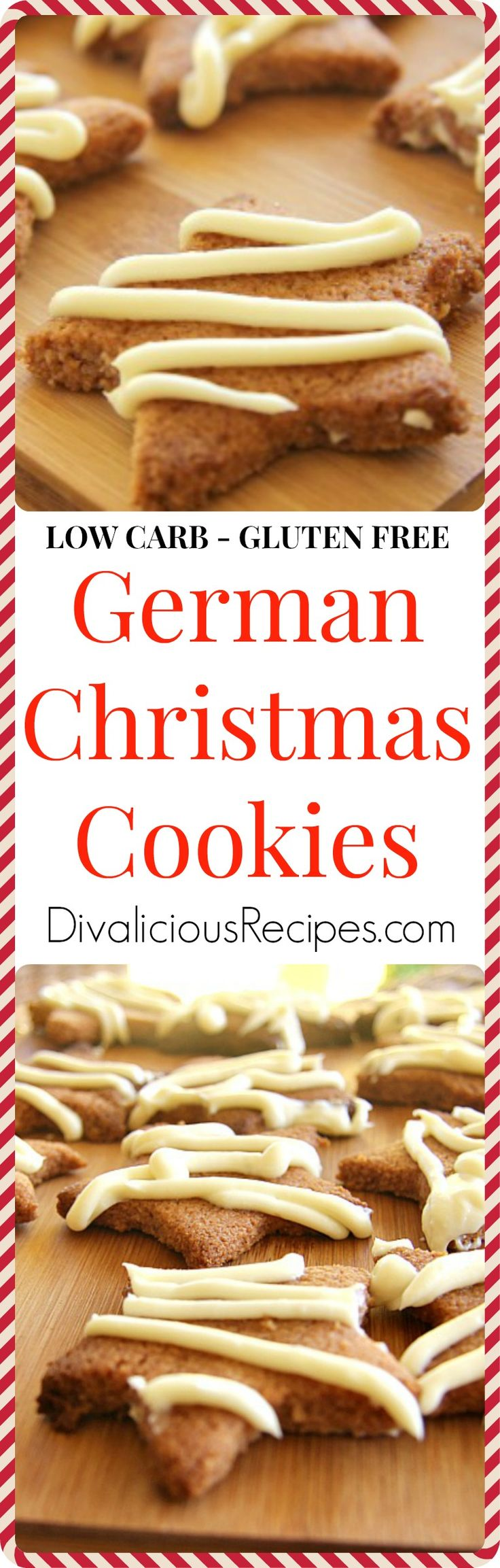 Cinnamon Christmas cookies that are low carb and gluten free.