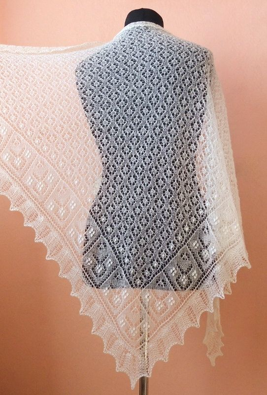 Hand knitted triangular lace shawl with Haapsalu shawl by ByRees, $109.00