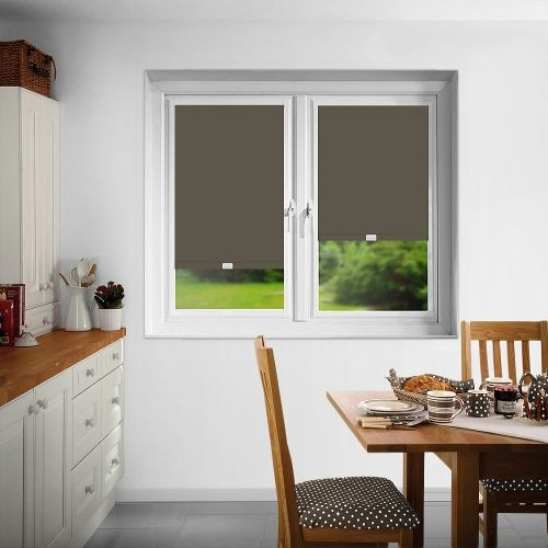 A Brownish Grey Perfect Fit Roller Blind in blackout material