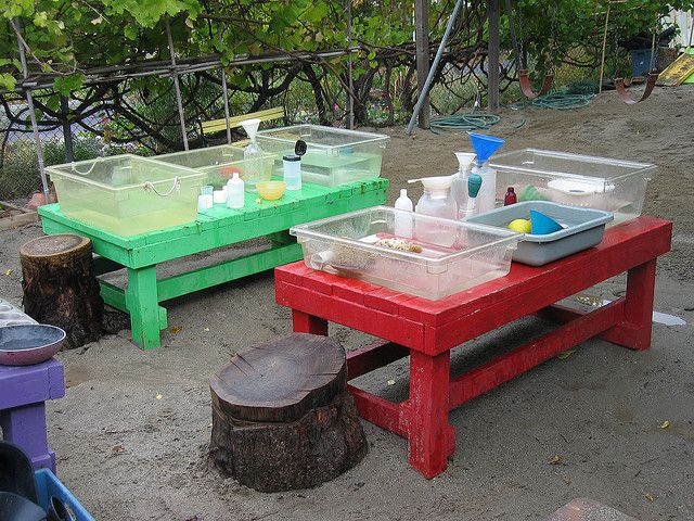 "Water tables set up for individual or small group play. Materials are suggestively assembled (half filled bottles, cups of food colour etc) - image from Bea Staley ("",)"
