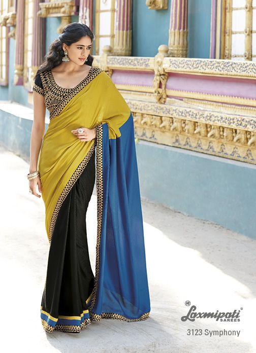 Wonderful heavy jari work on blouse  border of the black,golden  dark turquoise tri colored satin+chiffon saree is establish a new trend in the designer wear sarees.