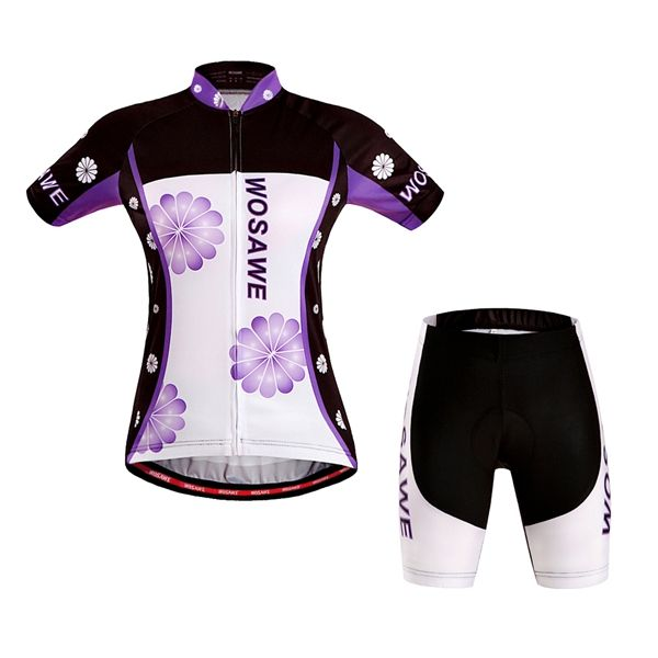 LOVE this look!  FREE SHIPPING!  WOSAWE Woman Short Sleeves Cycling Jersey Cycling Sportwear Bicycle Bike Suit With Gel Pad