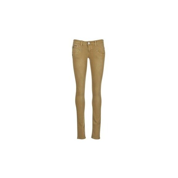 Freeman T.Porter ALEXA MAGIC COLOR Skinny Jeans ($115) ❤ liked on Polyvore featuring jeans, brown, trousers, women, brown jeans, cut skinny jeans, skinny leg jeans, brown skinny jeans and skinny jeans