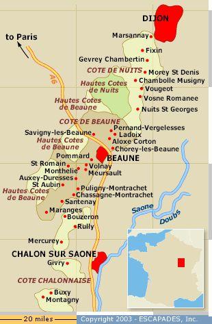 Burgundy wine map france