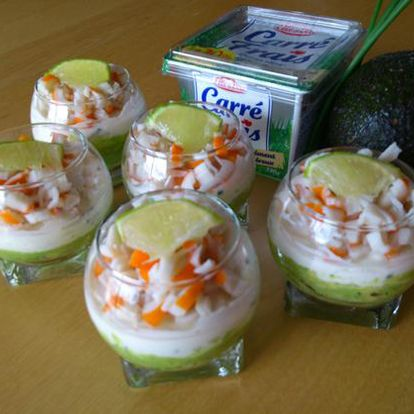 Bulle de fromage frais, avocat citron vert et surimi