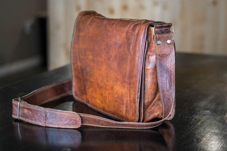 High On Leather Vintage Brown Messenger Bag Review — $85
