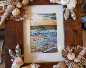 Blue Seashell Photo Frame Shell Picture Frame por TheSleepySeahorse