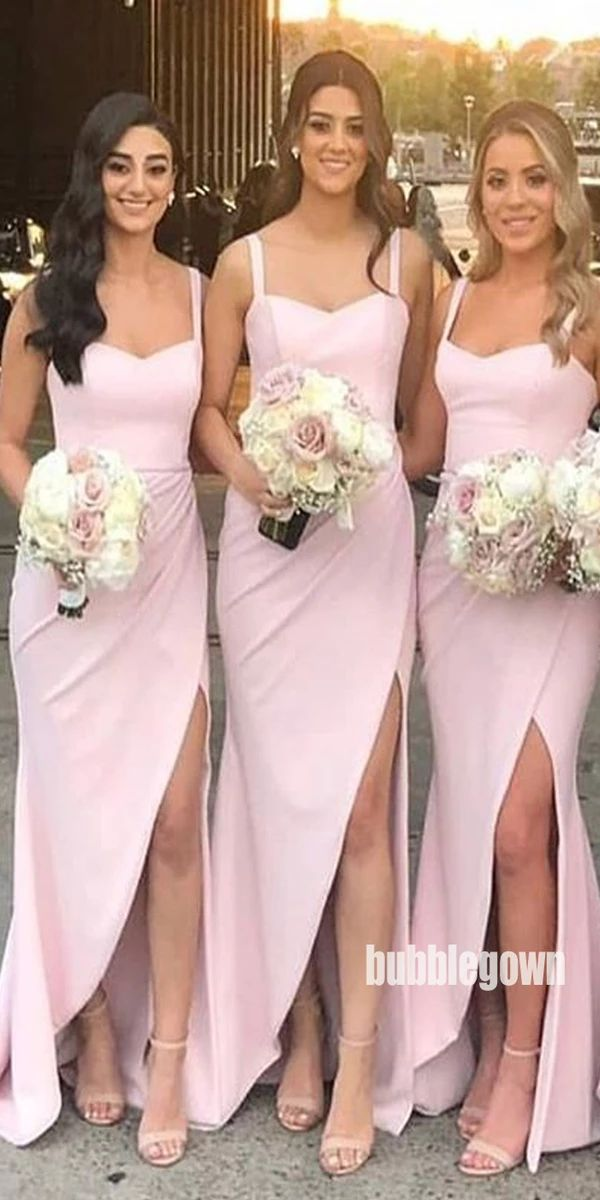 Side Split Spaghetti Strap Long Bridesmaid Dresses GDW114