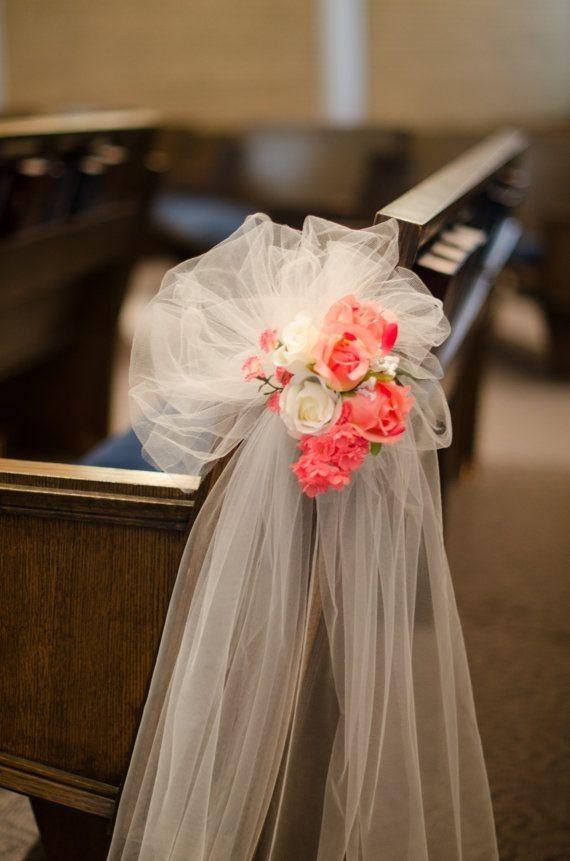 Wedding flowers for church pews church pew flowers wedding flowers coral flowers chair decor ivory white chiffon decor for church wedding 2014 junglespirit Images