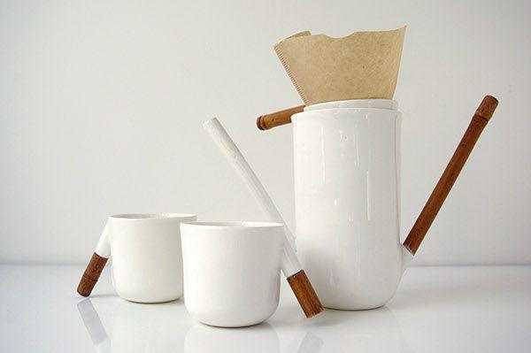 Rhythm coffee drip set by Olga Zelenska #ceramic #porcelain #schoolofform #set #design #tableware #product #minimalism #white #bamboo #material #combining