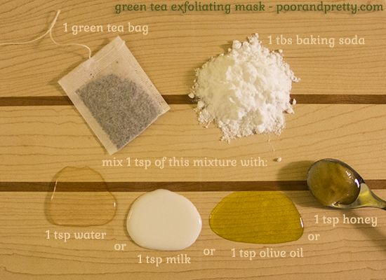 DIY green tea and baking soda exfoliating mask. Mix this with water, milk, olive oil, or honey, depending on your skin type. <3 #naturalbeauty #diybeauty
