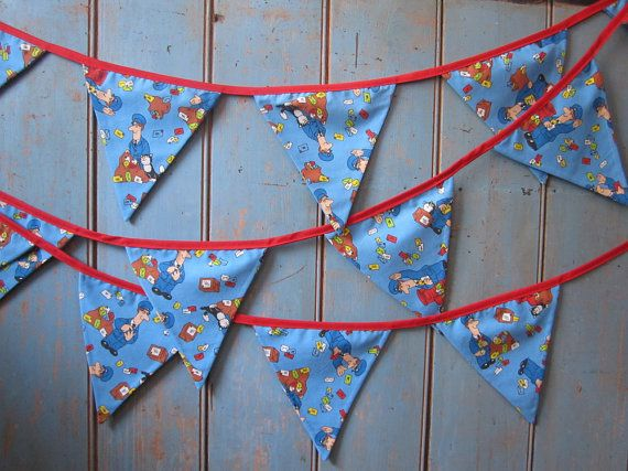 Children's Postman Pat Bunting. Made from some wonderful Postman Pat fabric this strand is 4.5m long.