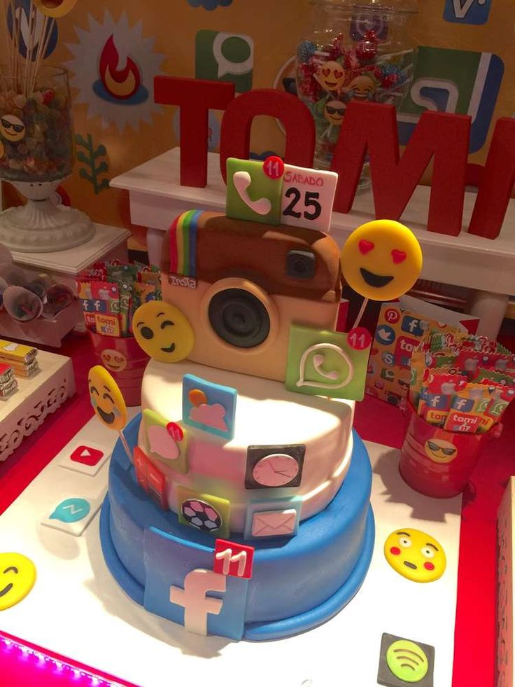 What a great cake at a social networks birthday party! See more party ideas at CatchMyParty.com!