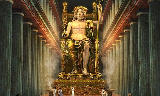 La statua di Zeus ad Olimpia, realizzata da Fidia nel 436 a.C. Il dio era seduto su un trono e reggeva nella mano destra un simbolo di vittoria d'oro e avorio, mentre nella sinistra teneva uno scettro su cui poggiava l'aquila d'oro, simbolo della divinità. Zeus indossava un mantello di lamina d'oro decorato con fiori di giglio. Il trono era decorato con ebano, pietre preziose e rilievi di ispirazione storica e mitologica.