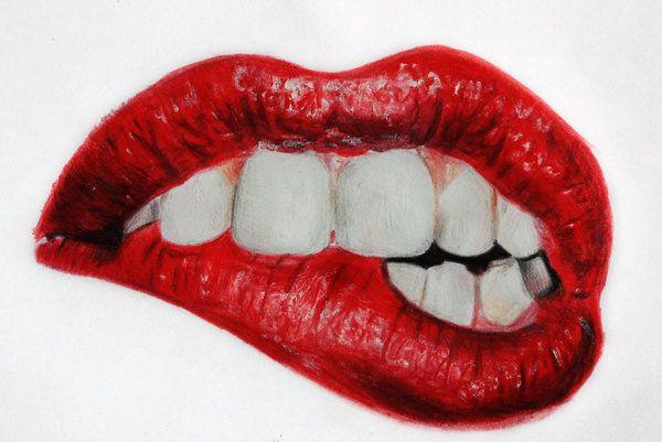Tumblr lip biting drawings