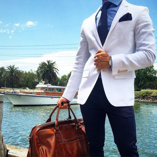 Classy Style. Men's outfit . White blazer