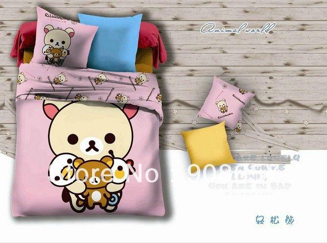 Бурый медведь мультфильм печатных детские постельные принадлежности Из Египетского хлопка одеяло/пододеяльники полный/двуспальная кровать в сумке утешитель листов комплектов