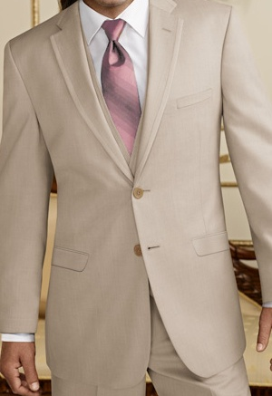 Tan Suit/Tux with Pink Tie