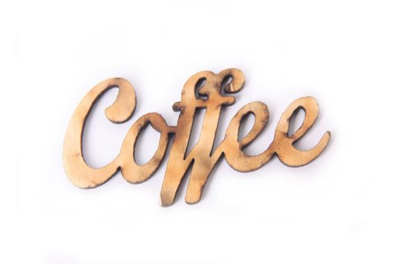 """COFFEE wooden sign 2,3"""" x 1,2"""", kitchen decor, coffeeshop, scrapbooking, menu, decoupage, inscription, unfinished wood, wooden letters"""