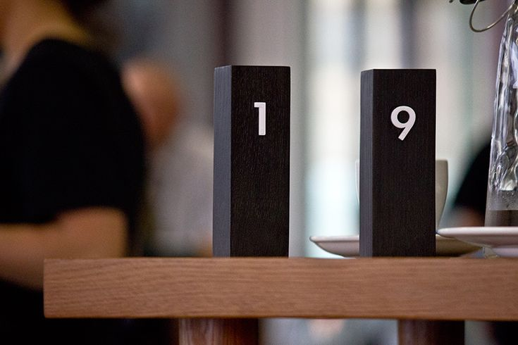 Home cafe table number design by Everything. Auckland, New Zealand.