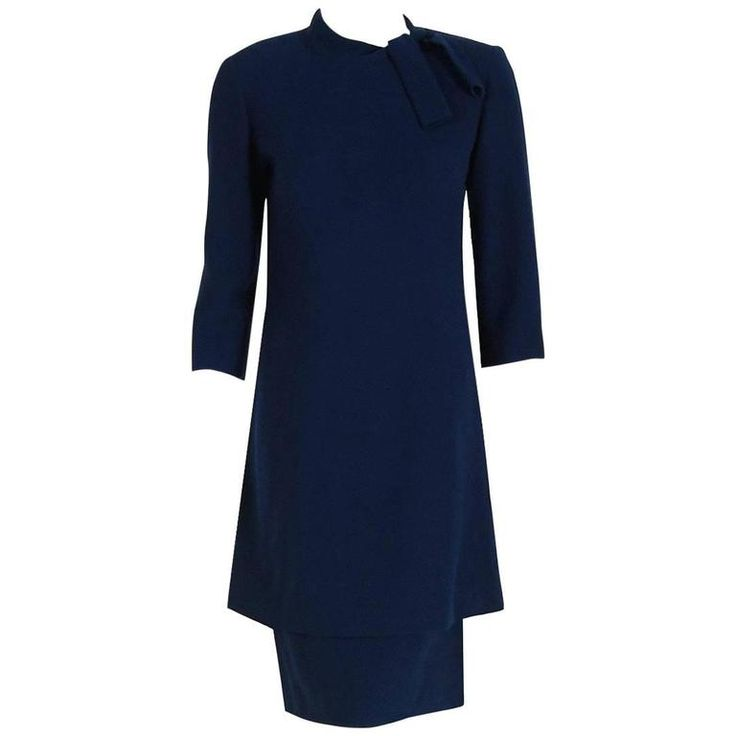 1968 Pierre Balmain Haute-Couture Navy Wool Asymmetric Buttons Tiered Mod Dress