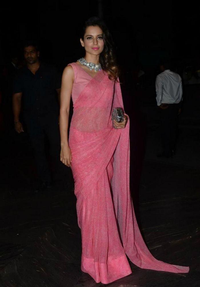 Kangana Ranaut at Shahid Kapoor and Mira Rajput's wedding reception. #Bollywood #ShahidMiraReception #ShahidKiShaadi #Fashion #Style #Beauty #Classy #Saree #Hot #Desi #Gorgeous
