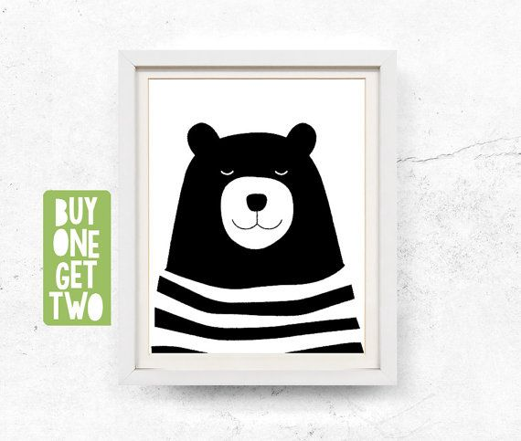 Bear print, Bear illustration, Kids wall art, Black and white, Bear art print…