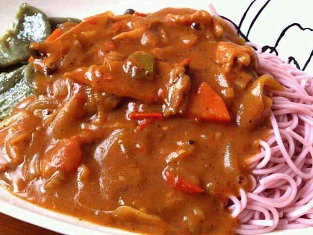 モロヘイヤを練りこんだはっとと紫蘇の練り込まれた白石温麺。 - 18件のもぐもぐ - 彩り咖喱 by petitenYOS