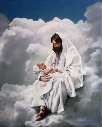 I LOVE this depiction of Jesus holding a baby, like it went to heaven, for all those who lost a baby or guilty of abortion... Jesus took them back!!