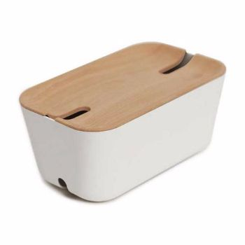 Bosign Medium White Natural Hideaway Cable Organiser : Medium white natural hideaway cable organiser by Bosign is designed to hide all cables and cords for your electronic devices in a tidy way. The power supply cable runs from the underside of the box, while the cable that connects to your gadgets runs through a hole in the lid.