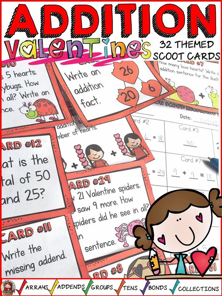 Review addition facts and build number sense with these 32 addition scoot cards featuring a fun Valentine's Day theme . https://www.teacherspayteachers.com/Product/VALENTINES-DAY-ADDITION-SCOOT-NUMBER-SENSE-3624128
