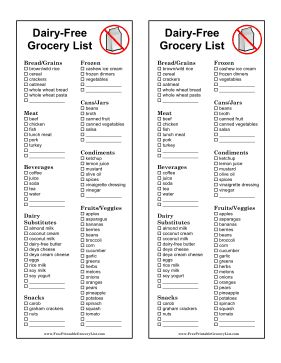 Dairy substitutes and dairy-free products are listed on this dairy-free grocery list for people who are lactose intolerant. Free to download and print
