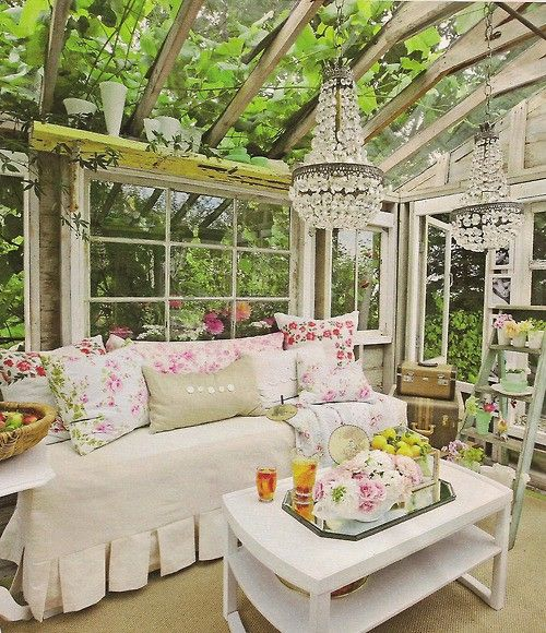 love the pillows, paint furniture white, old windows with flower prints behind them