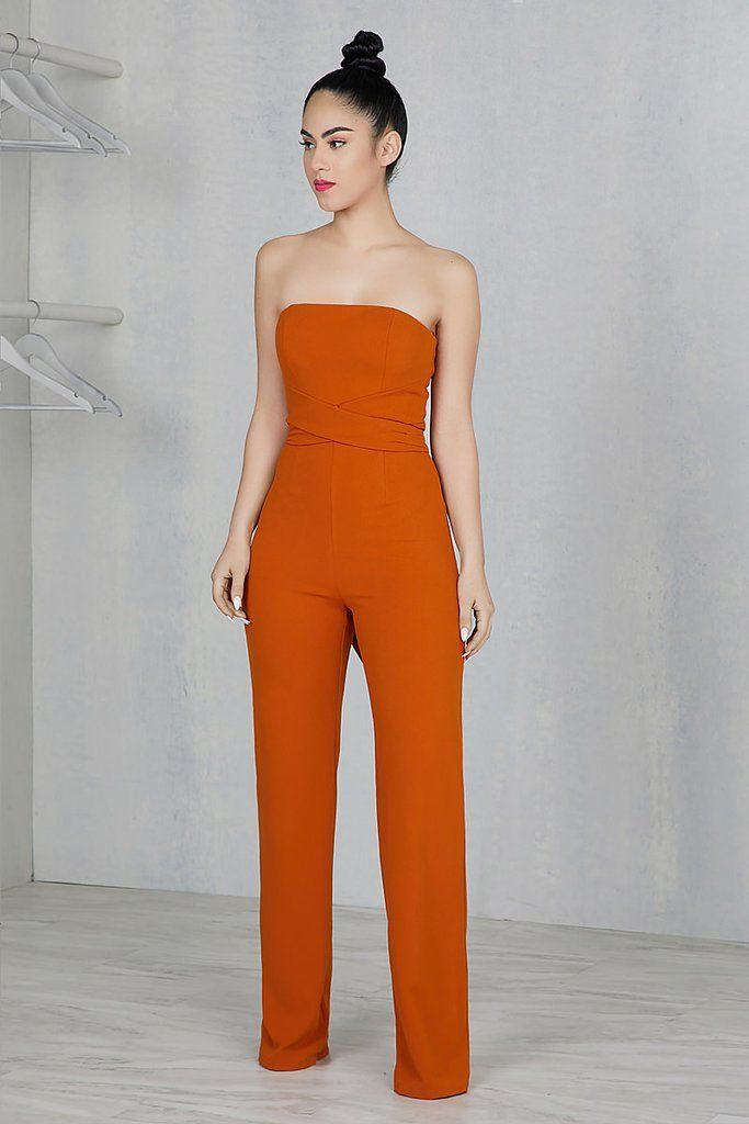 31f7209ec7a Tube Top Burnt Orange Jumpsuit