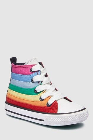 b3ba3a9c642 Girls Next Rainbow Stripe High Top Trainers (Younger) - Red | Scarlett-Rose  | Girls shoes, High tops, Sneakers