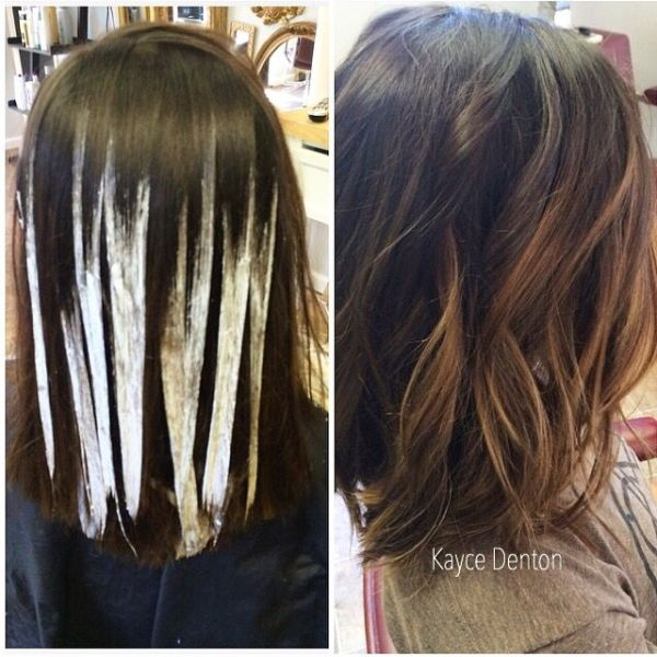 Balayage Hand Painted Highlights. Schwarzkopf Blonde Me. Dark Brown with Caramel by rena