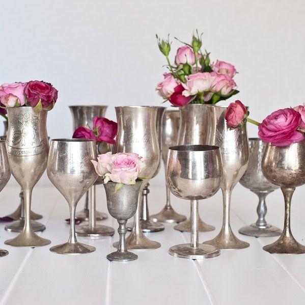 Vintage Silver Goblet for floral arrangements