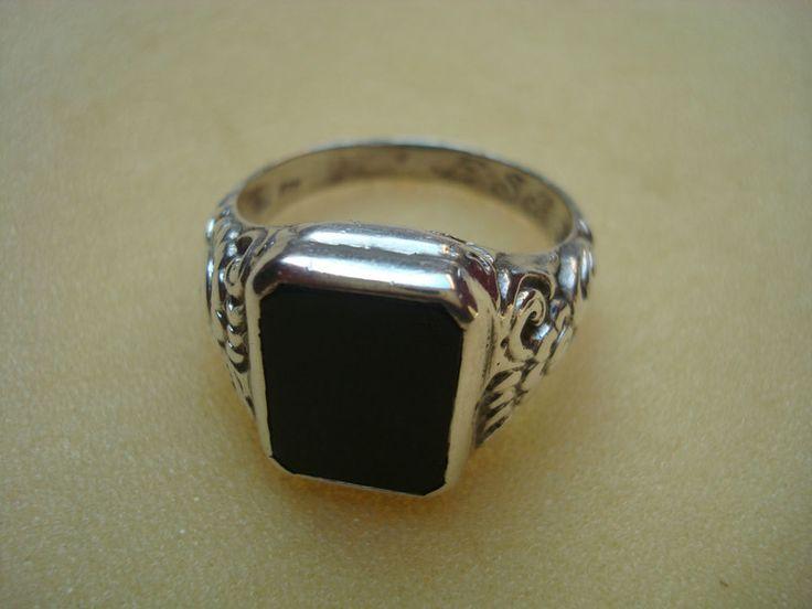 Klassischer Ring Herrenring Siegelring Silber 835 mit Onyx Art Nachlass