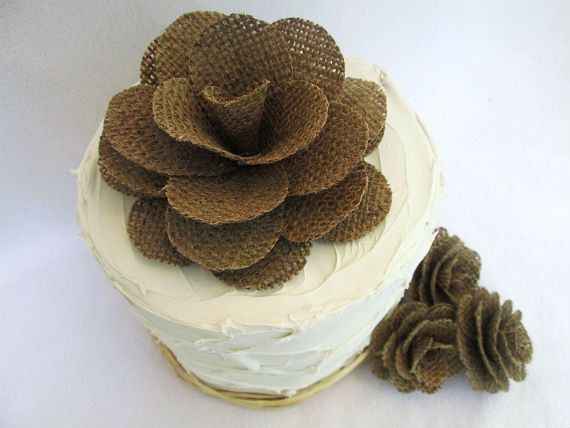 Hey, I found this really awesome Etsy listing at https://www.etsy.com/listing/229785429/rustic-burlap-flowers-wedding-cake