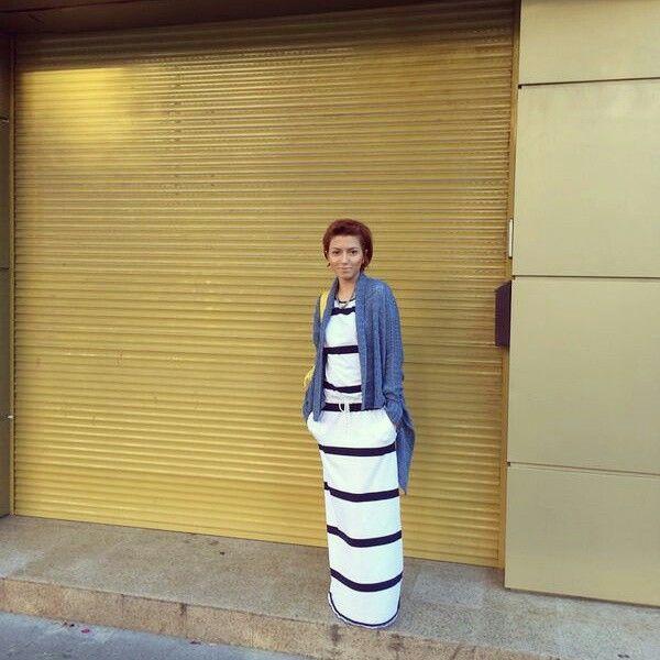 White striped long dress