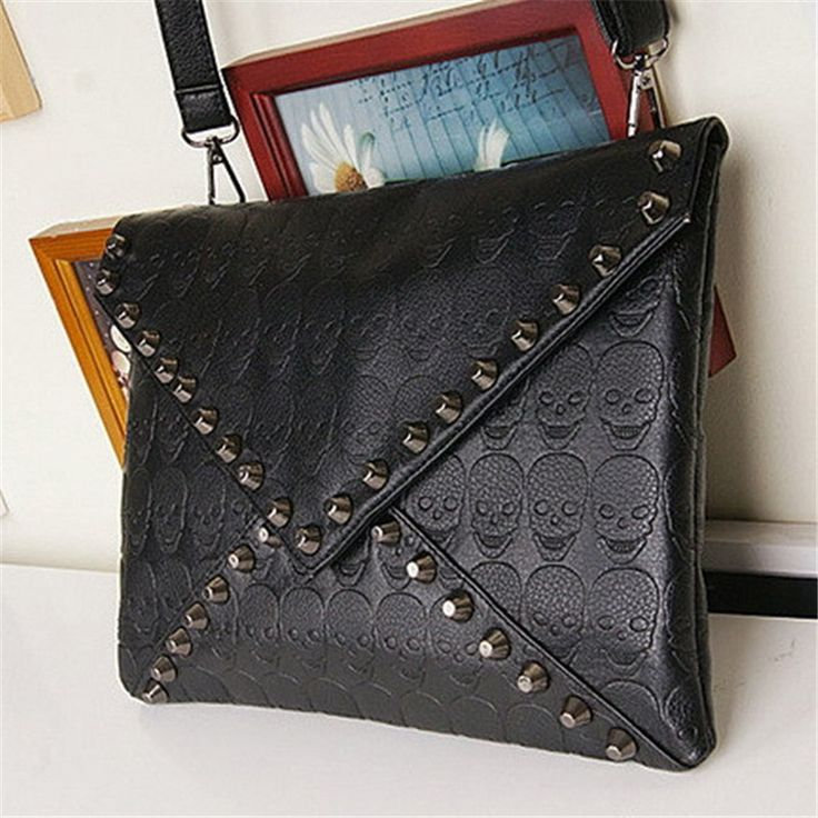 New 2015 Fashion Korean Designer Rivet Envelope Single Shoulder Women Bags Skull Clutch Crossbody Punk Brand Handbags Sac bolsa