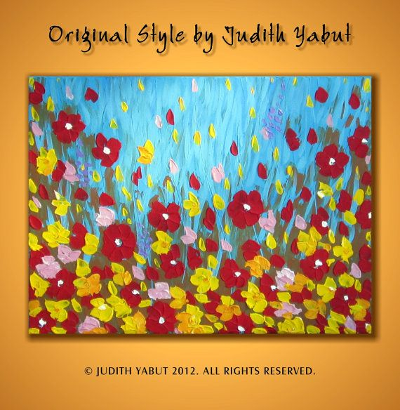 Original abstract Wild Poppies heavy texture palette by studiox26, $120.00
