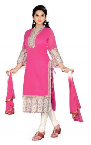 Charu Boutique Pink Cotton Silk Embroidered Churidar Suit